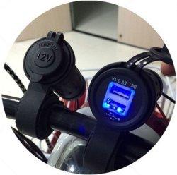 De waterdichte Lader van de Telefoon van de Macht Scoket van Handbar USB van de Motorfiets met de Lengte van de Lijn van 60 Cm verzendt 2PCS Zekering als Gift