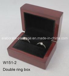 Бургундия древесины двойной кольца в салоне деревянные украшения упаковки Подарочная упаковка