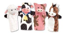 Burattini di mano degli amici dell'azienda agricola - mucca, cavallo, pecore e maiale