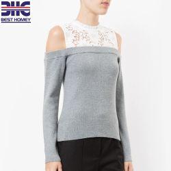 女性はレースによって刺繍される上の綿のアクリルの編まれたプルオーバーのセーターを敬遠する