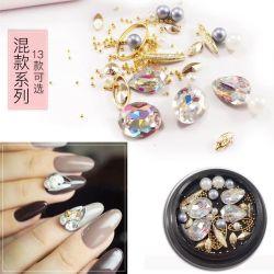 Mezcla el arte de uñas de color Pearls Rhinestones con Mini Beads