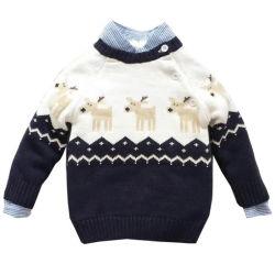 Осенью шаблон Elk трикотажные дети Pullovers повседневный мальчиков Рождество свитера