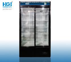 Gran capacidad comercial de la pantalla Vertical Enfriador de bebidas escaparate vertical puerta corrediza 660L modelo: el Lsc-660S (negro)