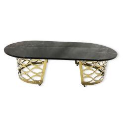 Tavolino da salotto ovale della Tabella concentrare del salone con la parte superiore di marmo