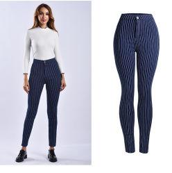 10% 할인 높은 허리 뻗기 형식 여위는 파랗거나 까만 줄무늬는 면 여자 또는 숙녀 Jeans를 헐덕거린다