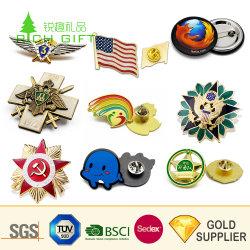 Latón promoción personalizada Souvenir broche de oro del logotipo de la flor de aleación de zinc metal bandera emblema nave insignia de la policía Soft enamel insignia de solapa para regalo promocional Sin mínimo