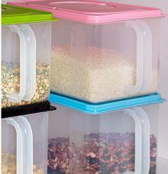Transparente de plástico de leite em pó desnatado Box Geladeira alimentar do tanque de armazenagem de grãos de cozinha roubar o pote com tampa