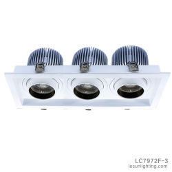 백색 3 헤드 옥수수 속에 의하여 중단되는 석쇠 램프, Downlight 천장 합작 빛 60W LC7972f-3