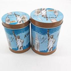 カスタム円柱ギフト用の箱、3茶/コーヒーによって印刷される包装の錫ボックス宝石類の記憶の荷箱の金属ボックスのセット
