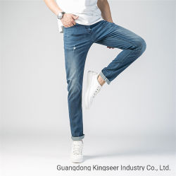 2019 Hosen-blaue Ausdehnungs-Mann-Jeans-Jungen-Hose-Aktien-gerade dünne Hosen der kundenspezifischen Form-Großhandelsmänner zerrissen Denim-Mann-Chino-Hose-Gamaschen-Jeans