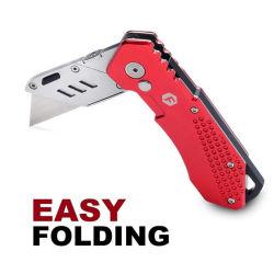 折る小型の実用的なナイフ、クイックチェンジの刃、ロックデザイン(カラー赤)