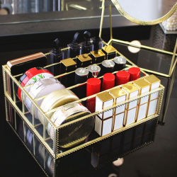 European Retro Eye Shadow Rack de stockage de la poudre de bureau de bouffée de boîte de rangement de rouge à lèvres maquillage Vernis à Ongles coussin d'Air Support d'affichage