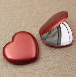 Desdobrável promocional Coração Alumínio Espelho de maquiagem compacto Cosméticos Pocket Mirror