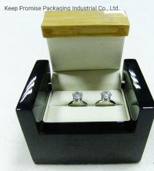 Glänzender glatter Farbanstrich-hölzerner hölzerner Schmucksache-doppelter Ring-Kasten