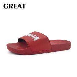 Sandalia de diapositivas personalizadas Greatshoe China Zapatilla de mujer, el Rojo Diapositiva Diapositiva de logotipo personalizado Sandalia Sandalia