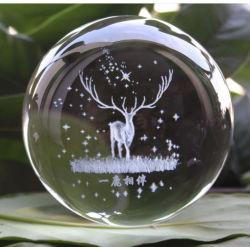 Commerce de gros cristal transparent 80mm Bille de verre gravure laser personnalisée logo 3D K9 boule de cristal pour la décoration d'accueil