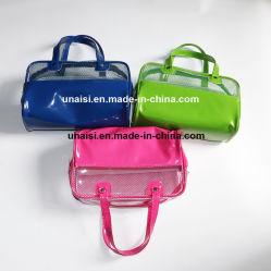明確なPVCおよびキャンデーカラーPUの洗面用品のパックの戦闘状況表示板の化粧品袋