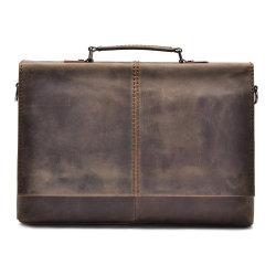 Weinlese-Leder-Aktenkoffer des Geschäfts-A4 Brown mit Schultergurt