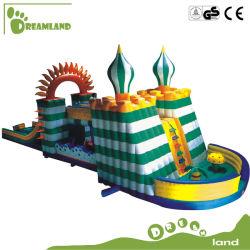 Salto de gigante castillo inflable tobogán inflable carrera de obstáculos de túnel juguetes personalizados en el interior al aire libre Dlib021