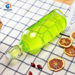 Venta caliente 500ml botella de vidrio redonda personalizada para el almacenamiento de bebidas cerveza vino con tapa de giro