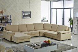 L sofà genuino del cuoio del salone di Microfiber del grande della villa di figura di U della mobilia di Confortable Canape rassodato domestico pieno domestico d'angolo del sofà