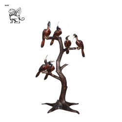Орнаменты вручную старинной внутри или вне помещений литые фигурка сад Литые бронзовые статуи Basc птицы с дерева-046