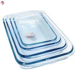 Piatto di cottura di vetro di Borosilicate di resistenza termica in rettangolare/quadrato/in ovale/in rotondo con FDA
