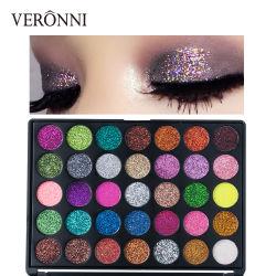 VERONNI cintilantes Eye Metal Sombra 35 cores de alta-pigmento Paleta Eyeshadow Makeup Cosméticos Iluminador de maquilhagem Shimmer ruj Metal