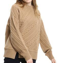 不規則なデザインプルオーバーの女性のセーターをステッチするカシミヤ織によって混ぜられるケーブル