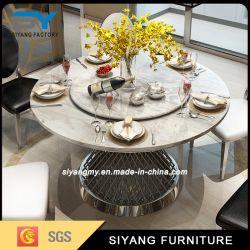 Oro Rosa Paiting de lujo Muebles de acero inoxidable mesa de comedor