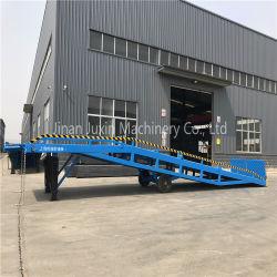 10 toneladas de rampa de base hidráulica móvil contenedor de carga de la plataforma de descarga con el apoyo de las piernas de dos ruedas