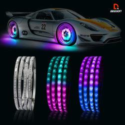 """軽くダイナミックな白熱LED車を追跡する音楽15へのAPP制御された同期信号は""""車輪のリング4PCS SMDの適用範囲が広い滑走路端燈をつける"""