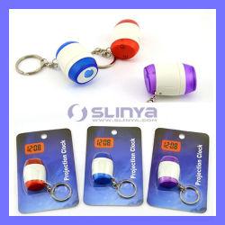 Anello chiave della mini di Keychain del proiettore di tempo dell'orologio del laser LED della torcia elettrica torcia di Digitahi (LED417)