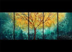 5 Panel-handgemalte Landschaftssegeltuch-Ölgemälde-Wand-Dekorationen hergestellt in China