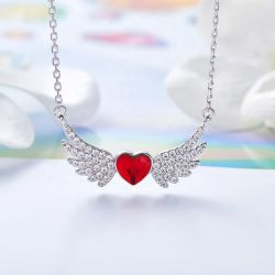 MGO Gem Global de procesamiento de la Joyería de Plata Cristal Rojo Angel ala Angela joyas collar