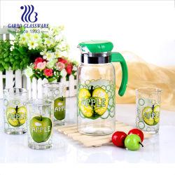 الجملة 5PCS شفاف شفاف ملصق الطباعة مخصص الديكور الزجاج الماء مجموعة من المشروبات مع غطاء ومقبض بلاستيكي بسعر الجملة (GB12045 SG-055Y)