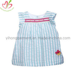 Tissu à rayures Seersucker fille Haut de la jupe avec Custom applique