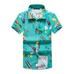 Gedruckte Entwurfs-lustige BaumwollBreathable hawaiische Strand-Hemd-Kurzschluss-Hülse 100%