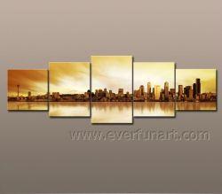 5 panneaux Hand-Painted toile Groupe d'art du paysage5-082 Peinture d'huile (LA)