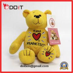 China Fabricante de osito de peluche Osito de peluche amarillo bordado con Corazon