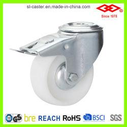 160mm Trou de boulon en nylon blanc avec frein roue pivotante (G102-20D160x40S)