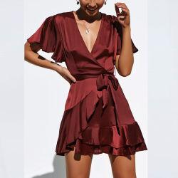 Custom дамы Satin повседневная одежда устройства обвязки сеткой