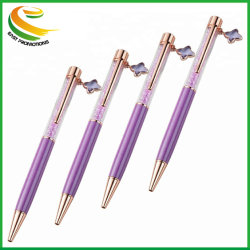 Promoção de metal de alta qualidade o logotipo personalizado com caneta de cristal pendente manual