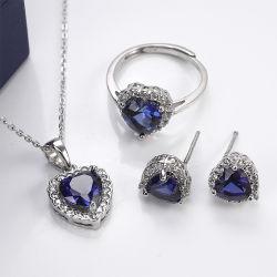 La mode de gros de bijoux bijoux de mariage de pierres précieuses définit avec saphir bleu d'Imitation de mariée