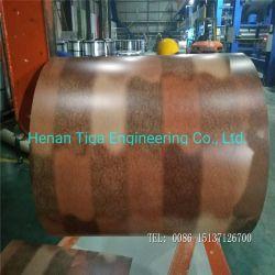 Aspecto de cuero de grano de madera laminada de película de PVC de la bobina de canalones de aluminio