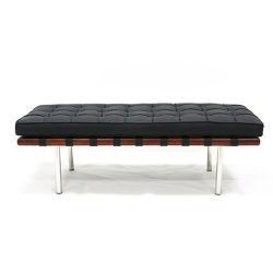 Sofà nero del banco del salotto di Barcellona del cuoio del poggiapiedi di rettangolo della decorazione della mobilia del salone