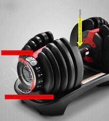 Hot la vente d'haltère réglable ensemble des équipements de gym 24kg 40kg de poids d'haltères