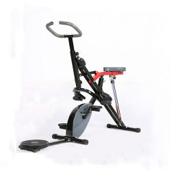 体操材料は、世帯の体操の携帯用スポーツの練習の使用の適性のためのタブレットの立場が付いている屋内循環の折る磁気建設のバイクの静止したバイク重量を失う