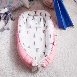 Baumwollbaby-Feldbett-Krippe des Co-Schlafen Baby-Korbwiege-neugeborene Baby-Nest-Nichtstuer-100% weiche mit Kissen für das Reisen und das Nickerchen machen