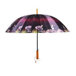 ضلوع 24 ملونة بالكامل لإعلانين مظلة خشبية مستقيمة مع زهرة
